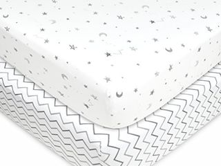 American Baby Company 2 Pack Printed 100  Natural Cotton Jersey Knit Fitted Pack N Play Playard Sheet  Grey Stars and Zigzag  Soft Breathable  for Boys and Girls