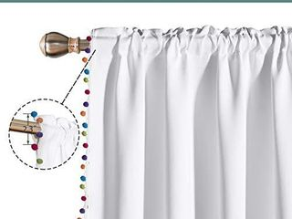 lORDTEX Multi Color Pom Pom Curtains for Kids Room   Thermal Insulated Curtains Noise Reducing light Blocking Rod Pocket Window Drapes for Boys and Girls Bedroom  52x95 inch  White  Set of 2 Panels
