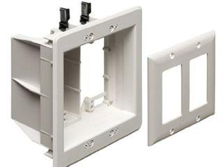 Arlington Industries TVBU505 Arlington TVBU505 1 TV Box Recessed Outlet Wall Plate Kit  2 Gang  White  1 Pack