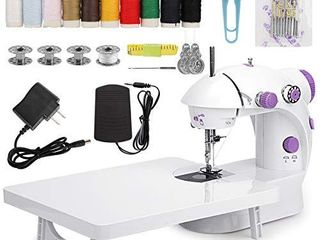 MinRi Mini Sewing Machine with Upgrade Extension Table Adjustable Double Threads and Two Speeds Portable Crafting Mending Machine Sewing Kit for Household  Travel  Kids  Beginners