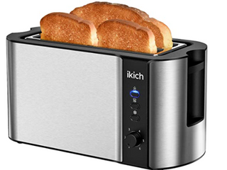 IKICH Toaster 4 Slice  Toaster 2 long Slot  Warming Rack  large Breads  Buns