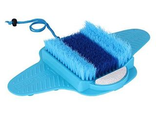 Ollieroo Foot Scrubber Brush Massage Shower Floor Foot Cleaner with Pumice Bristles Exfoliating Dead Skin Foot Spa Anti slip Suction Cups