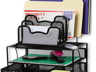 Simple Houseware  Desk 2 Tray   5 Stacking Section Organizers  Black