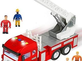 Toy Fire Truck with lights and Sounds   4 Sirens   Extending ladder   Powerful Friction Rolling   Firetruck Fire Engine for Toddlers   Kids