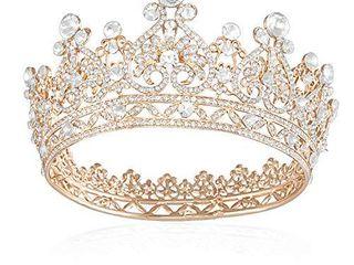 JOYPEA Tiara Crown Crystal Tiara For Women Gold Bridal Crown Wedding Birthday Prom Queen Pageant Hair Accessories