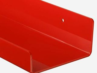 BS Advertising Acrylic Shelf 15  l4 W 3MM Thick Floating Wall ledges for Books and Photos Red Color