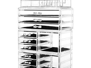 HBlife Acrylic Jewelry and Cosmetic Storage Drawers Display Makeup Organizer Boxes Case with 11 Drawers  9 5  x 5 4  x 15 8  4 Piece  Clear