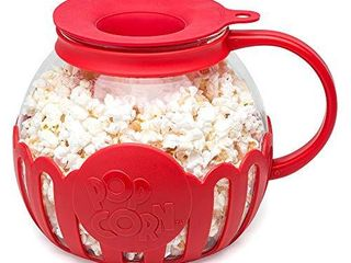Ecolution Original Microwave Micro Pop Popcorn Popper Borosilicate Glass  3 in 1 Silicone lid  Dishwasher Safe  BPA Free  3 Quart Family Size  Red