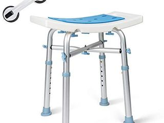 OasisSpace Heavy Duty Shower Chair 500lb  Padded Bath Seat with Free Assist Grab Bar   Medical Tool Free Anti Slip Shower Bench Bathtub Stool Seat for Elderly  Senior  Handicap   Disabled