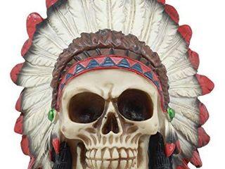 Ebros Indian Chieftain Skull Statue 5 75 long Mohawk Warrior Skull With Roach Headdress Figurine