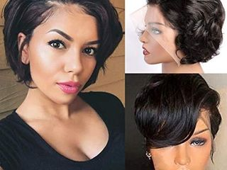 13x4 Pixie Cut Short Bob lace front Wigs Human Hair MSGEM Short Bob Wigs 6 inch loose Wig150  Density Brazilian Virgin Human Hair with Pre Plucked Haircuts Natural Hairline