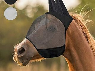 fertgo Fly Mask for Horses with All Round Breathable Mesh  Non Heat Transferring  New Black H