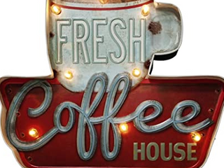 ACECAR Coffee Wall Decorations Metal Vintage Handmade Marquee Embossed Tin Decor Industrial Style Wall Hanging Sign for Apartment Home Bar or Cafe Wall Decoration Battery Operated  Coffee