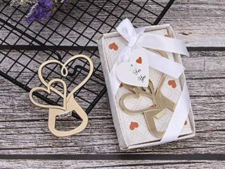 24 pcs Gold Bottle Openers Wedding Favors Decorations  Gift Box  love Double Heart Shaped  Party Favors Supplies