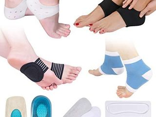 Plantar Fasciitis Pain Relief Kit 14 Pcs  Compression Socks  Sleeve Ankle Brace  Foot Arch Supports   Therapy Wraps  Gel Heel Spur  Gel Heel Inserts Cushion   Heel Grips Support for Metatarsal Pain