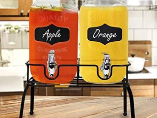Estilo Glass Set of 2 Mason Jars Beverage Drink Dispensers on Metal Stand with Chalkboard labels and Chalk with lids and leak Free Spigots 1 Gallon