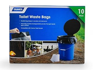 Camco Toilet Waste Bags  Durable Double Bag Design is leak Proof  Inner Bag Gels Any liquid  Great for Camping  Hiking and Hunting and More  10 Pack  41548  Black