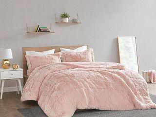 Twin Twin Xl leena Shaggy Faux Fur Comforter Set   Blush