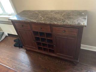 Shenandoah Valley Flexsteel Marble Top Bar Cabinet