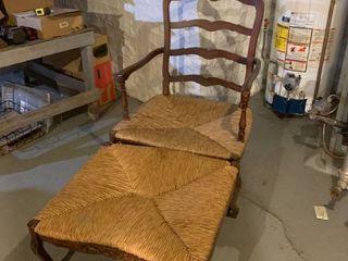 Wicker Chair And A Half W  Ottomon