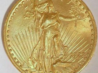 Saint Gaudens 1922 US Double Eagle  20 Gold Coin