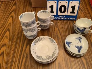 lot of Cups and Saucers  2 Designs