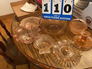 lot of Assorted Pink Glassware