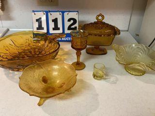 lot of Amber Glassware