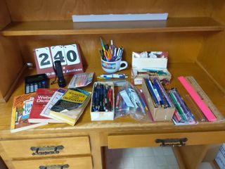lots of Pencils Pens  Flashlight  Calculator