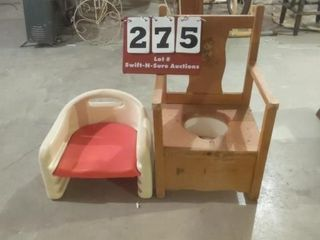 Wooden Children s Potty and Plastic Seat