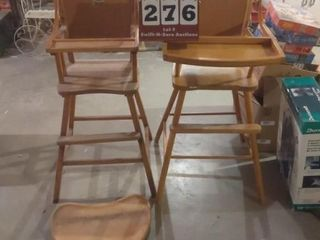 Two wooden High Chairs