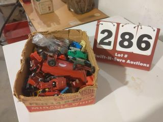 Box of Kids Car Toys and Tractors