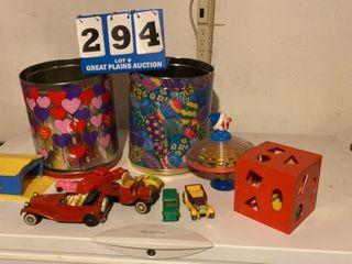 lot of Toys and Seasonal Tins