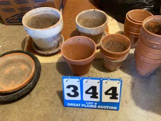lot of Terra Cotta Flower Pots and Bases