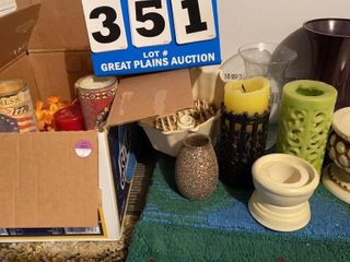 lot of Assorted Candles and Vases