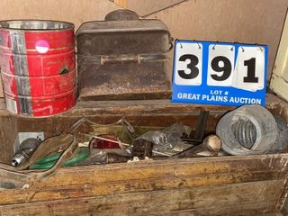 Wooden Tool Box With Assorted Items