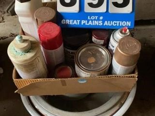 Metal Bowls Pans and Box of Paints  etc