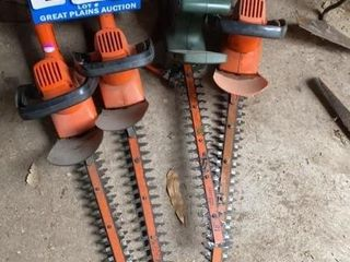 lot of 4 Black   Decker Hedge Trimmers