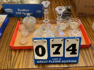 lot of Assorted Clear Glass and Crystal