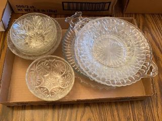 lot of Clear Glass Bowls and Plates