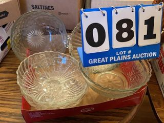 lot of Clear Glass Serving Bowls