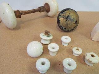 Stone Bookends  Porcelain Door Knobs  8
