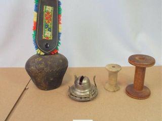 Wood Spools  Cowbell  lantern Piece