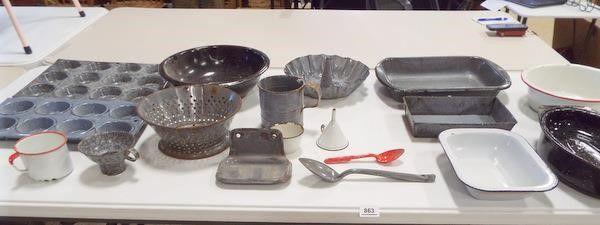 Enamelware Pots  Pans  More   1 Med  Box