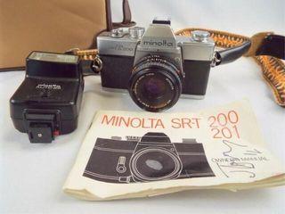 Minolta SR T 200 Camera  Flash  Bag