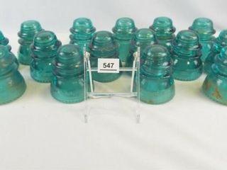 Glass Blue Insulators  most Hemingray  15