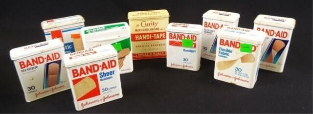Band Aid  Curity Boxes   Tin  Plastic  8