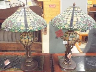 Stained Glass Style 3 Way lamp Pair  2