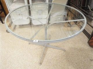 Metal Round Table  Glass Top