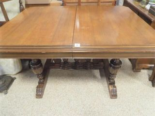 Wood Trestle Table with leaves